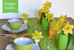 Easter table in green and yellow