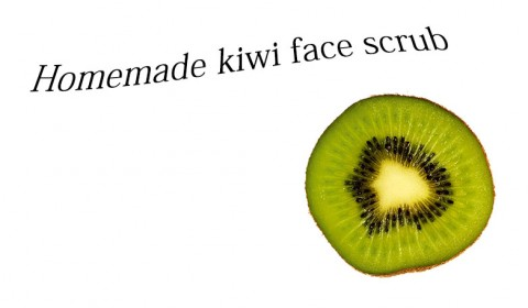 Homemade face scrub with a kiwi