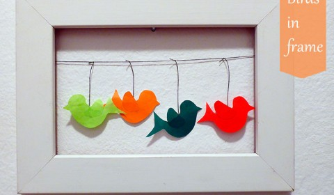 Birds in picture frame as cute wall decoration