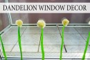 Dandelion window decoration with crêpe paper