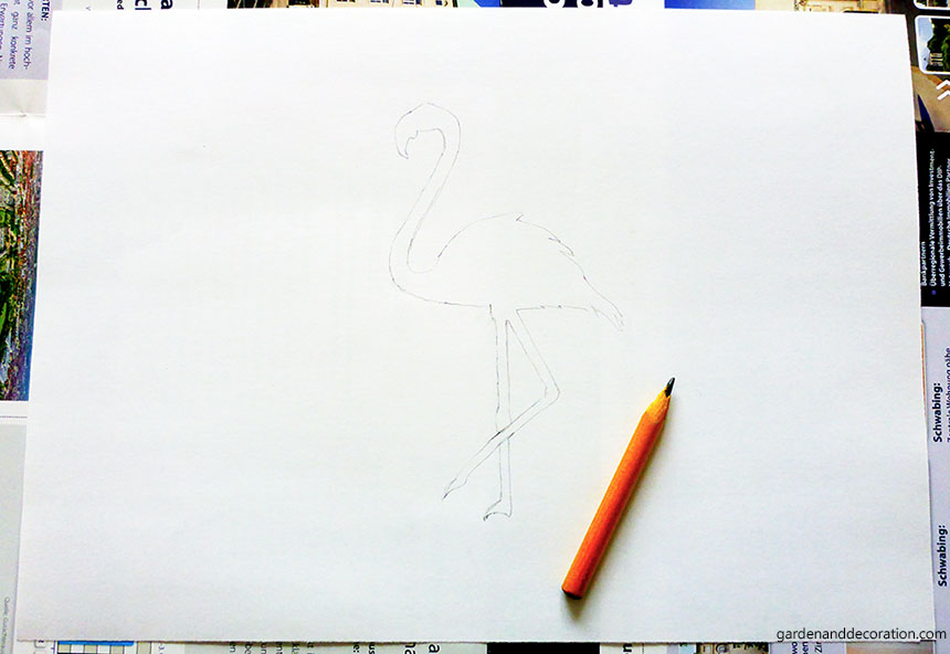 flamingo sketch on paper