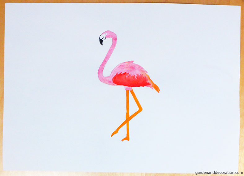 finished flamingo painting