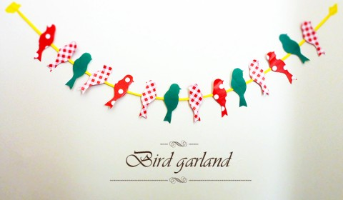 Bird garland made out of wrapping paper