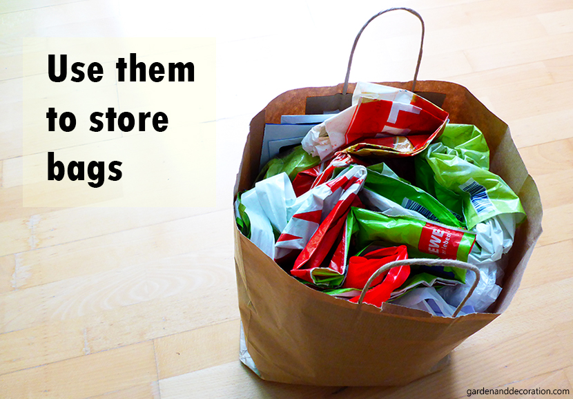 Use empty paper bags to store bags