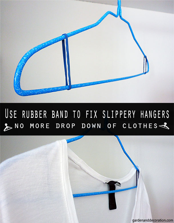 rubber band to fix slippery hangers