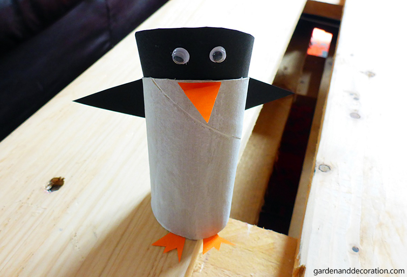 penguin made out of toilet paper roll