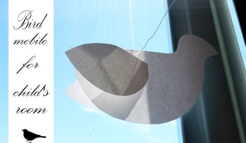 Drafty paper bird mobile for child's room