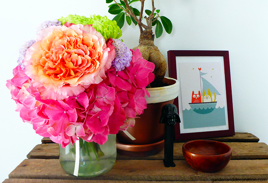 Colourful flower bouquet in the living room