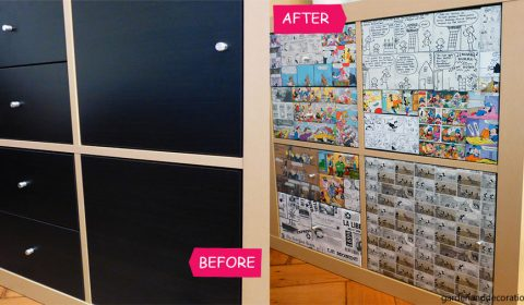 Creative Ikea shelf makeover with comics