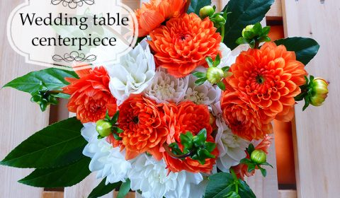 60s inspired wedding table centerpiece