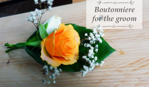 60s inspired boutonniere for the groom