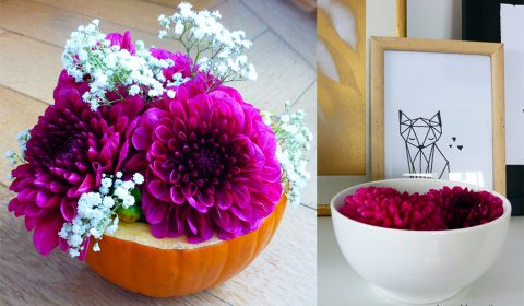 Easy decoration for fall with a pumpkin and some dahlias