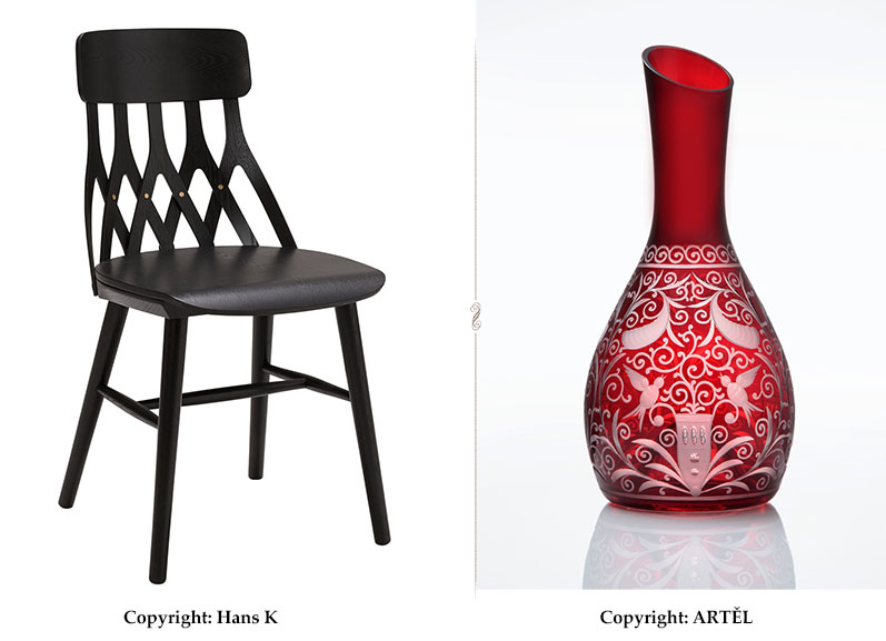 Y5 chair from Hans K and Baroko wine carafe from ARTEL