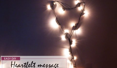 Heartfelt message with fairy lights