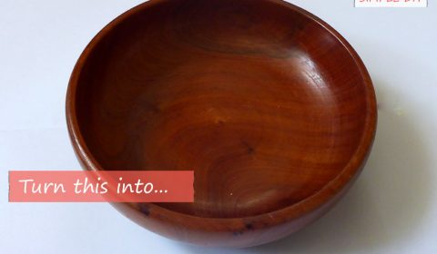 Colorful painted wooden bowl
