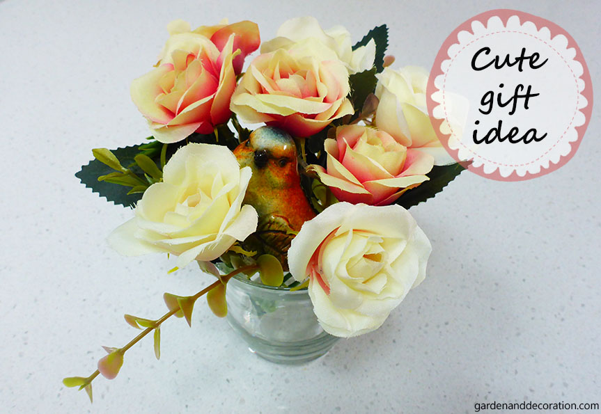 Handmade gift idea with artificial flowers
