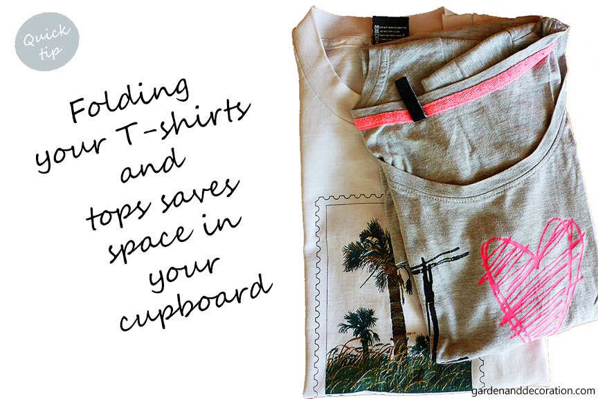 folding t-shirts and tops saves storage space