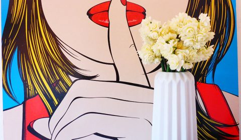 Pop art picture with daffodils bouquet