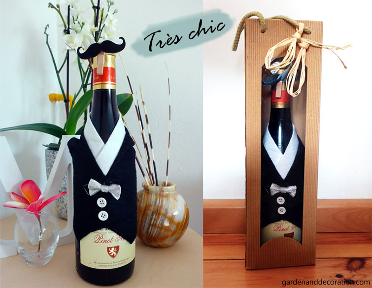Chic wine bottle wrapping idea with a tiny tuxedo