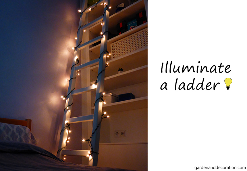 Fairy lights ideas for your home_illuminated ladder