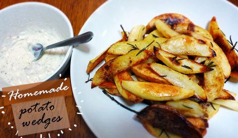 Homemade potato wedges with rosemary
