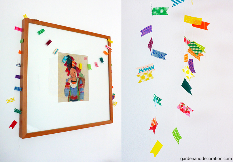 Colorful garland made with different washi tapes