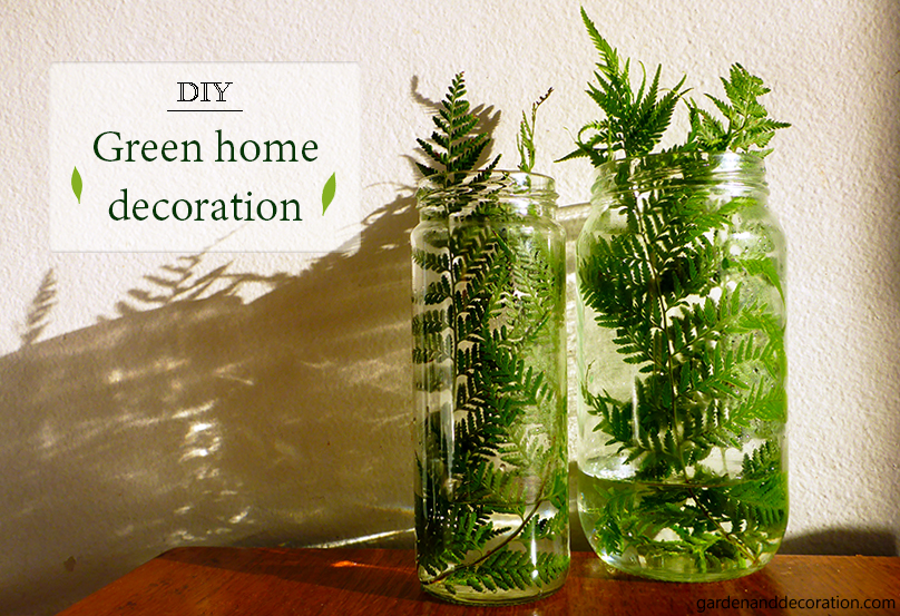 Fern leaves in jars as decoration ideas