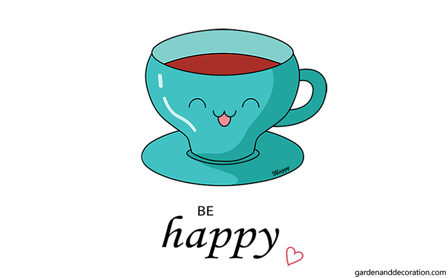 Illustration with a happy face tea cup