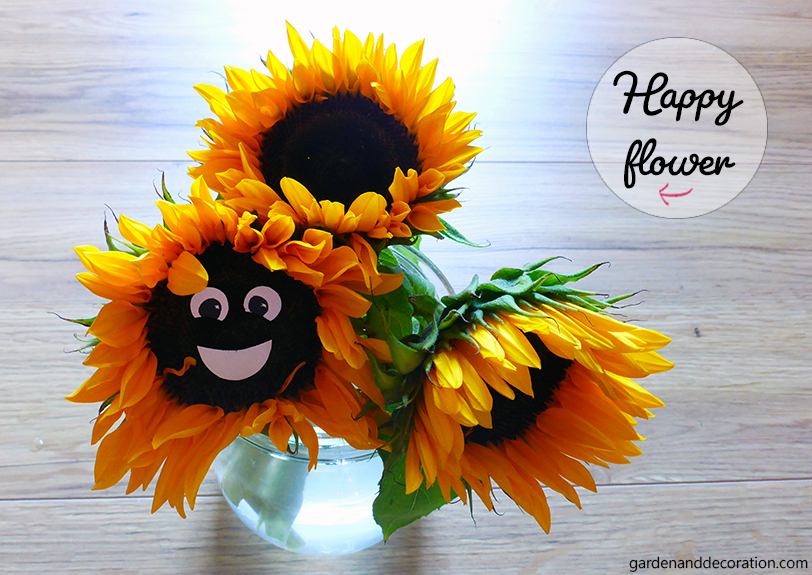 Sunflower bouquet with a smiling face on one sunflower
