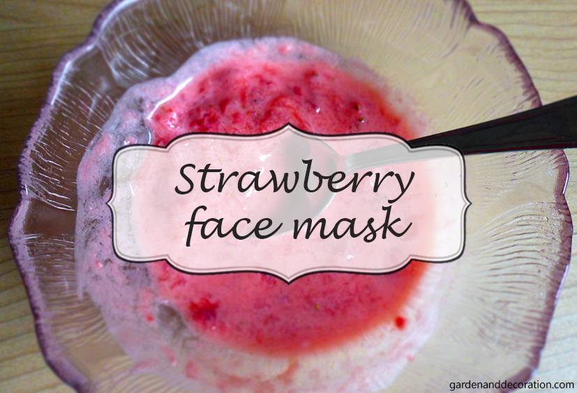 Strawberry face mask in a bowl with a spoon