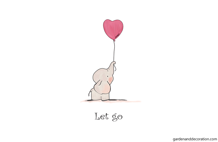 Elephant illustration with balloon and the quote Let go