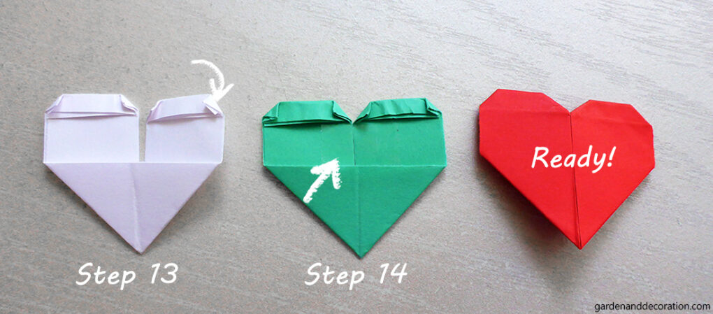 How to make an origami heart_step 13-15