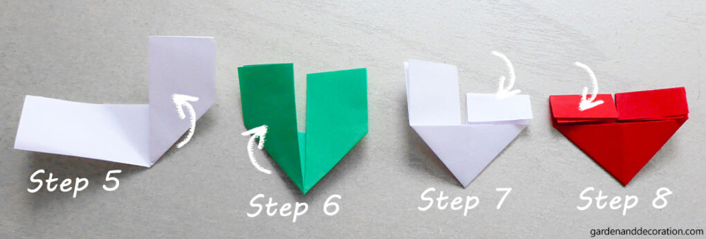 How to make an origami heart_step 5-8