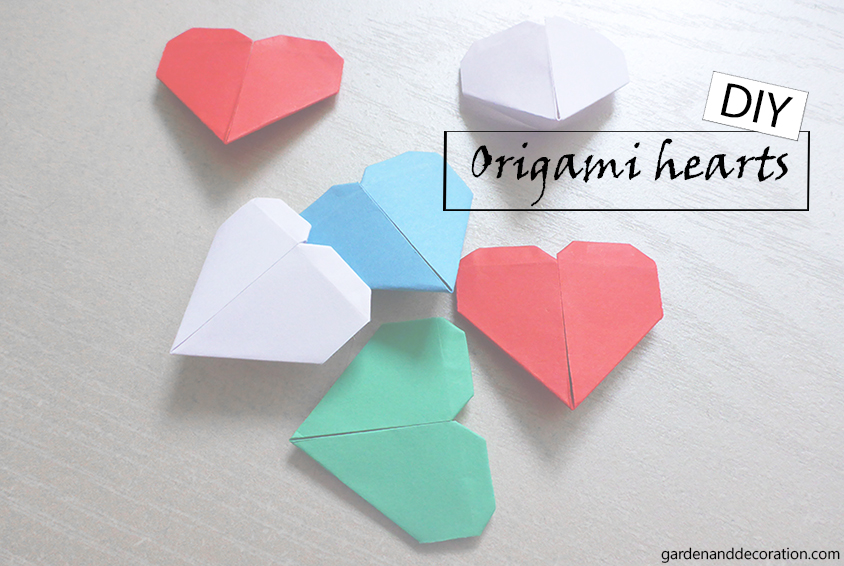 Colourful origami hearts