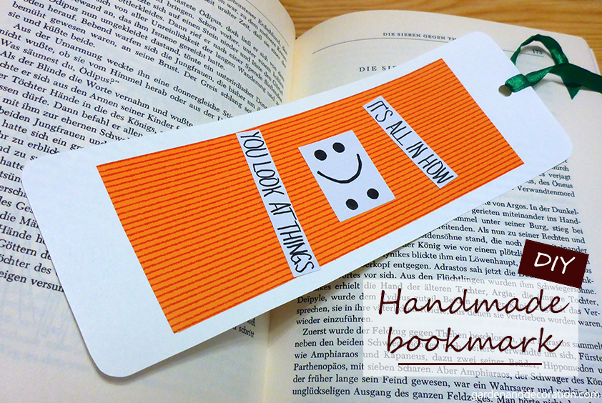 Handmade bookmark with a quote