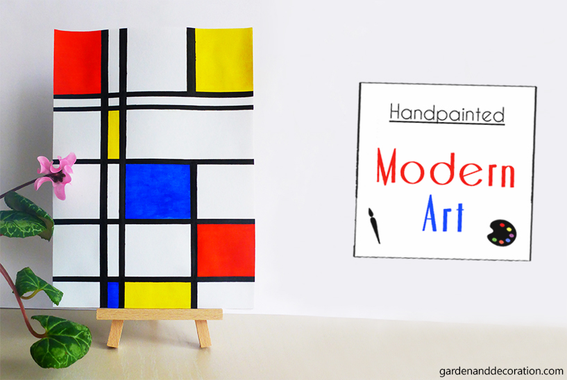 Modern art painting inspired by the artist Piet Mondrian