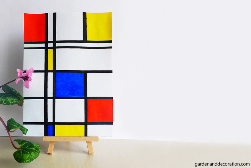 DIY_Handpainted modern art inspired by the artist Piet Mondrian