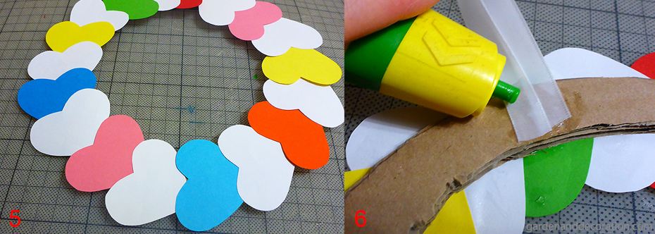 How to do paper heart wreath_step 5-6