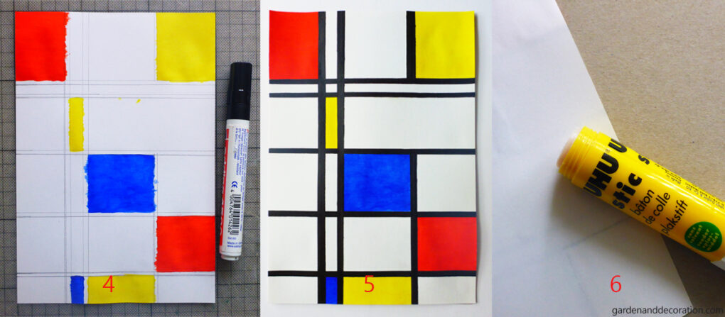 Step 4-6 for the modern art painting inspired by the artist Piet Mondrian