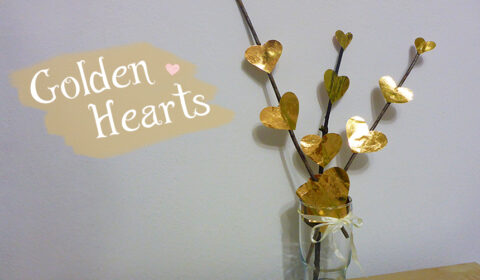 Simple DIY idea: Golden paper hearts