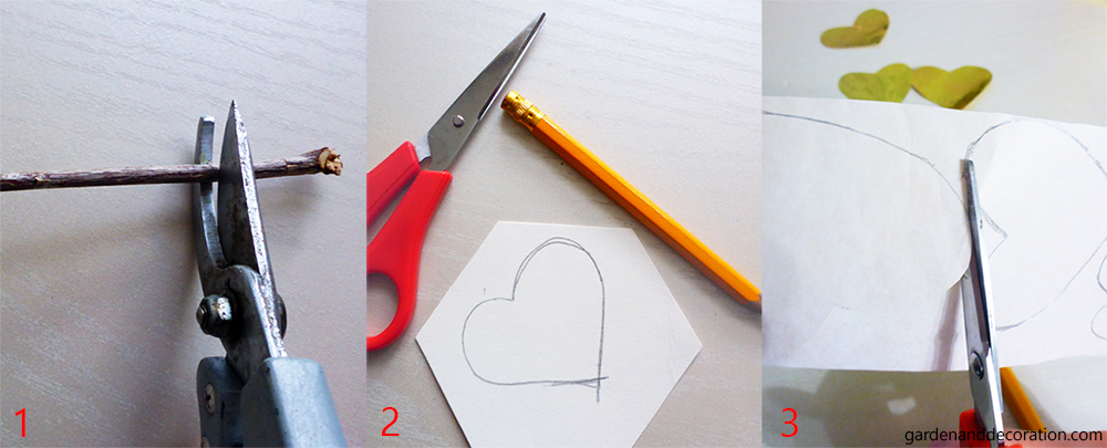 Golden paper hearts_step 1-3