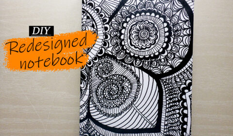 Draw a zentangle design for a notebook