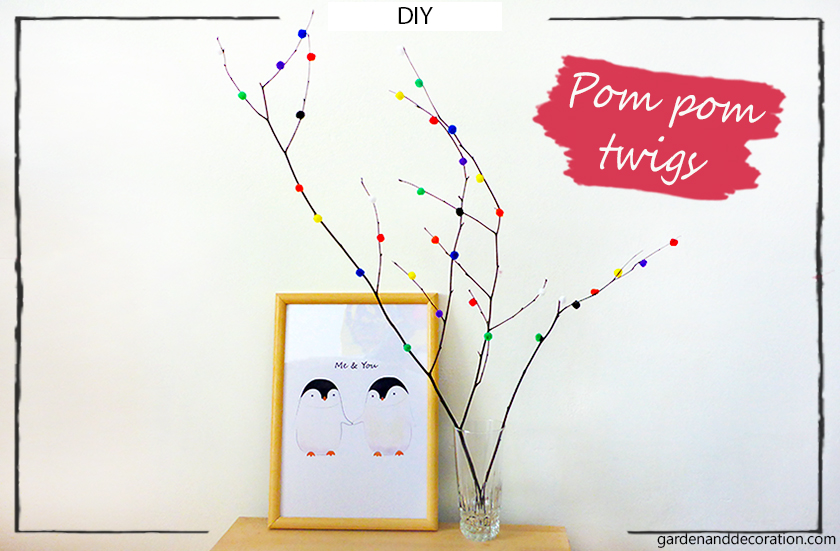 DIY: Pom pom twigs_by gardenanddecoration.com