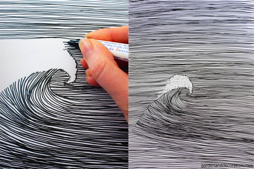 Wave drawing with black marker