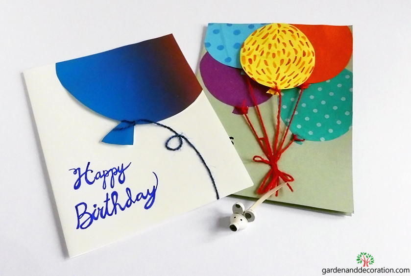 DIY: Birthday cards with balloons by gardenanddecoration.com