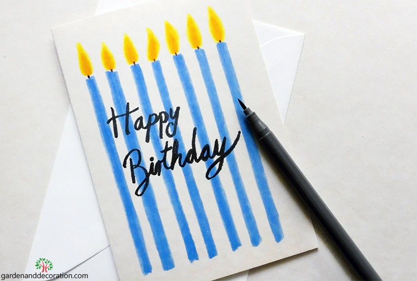 DIY: Happy birthday card with candles by gardenanddecoration.com