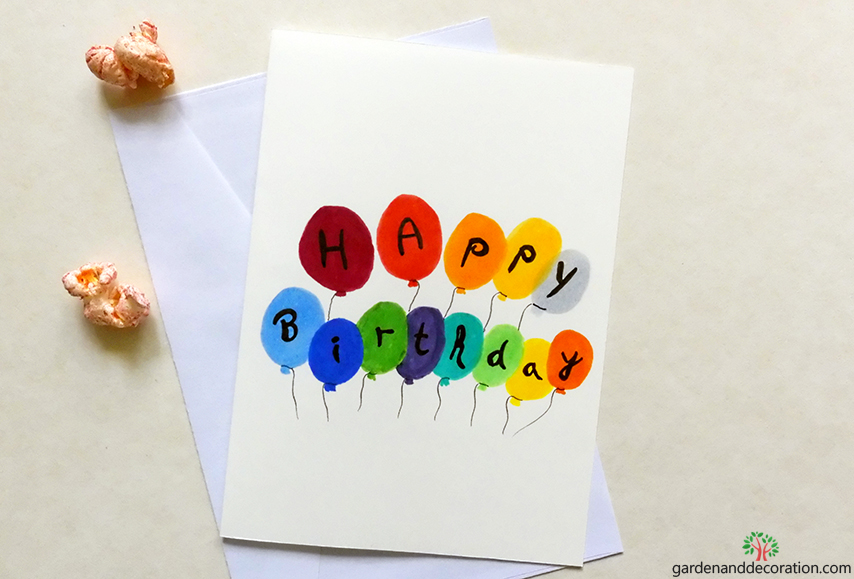 DIY: Happy birthday card_painted balloons by gardenanddecoration.com